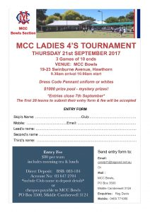 MCC Ladies 4's Tournament 2017